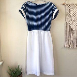 VTG 70s NAUTICAL NAVY & WHITE STRIPE DRESS